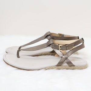Cole Haan Metallic T-Strap Sandals 8.5